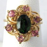 Flower Form 1970s Ring 14kt Gold Green Tourmaline Pink Zircons Cluster Engagement Ring