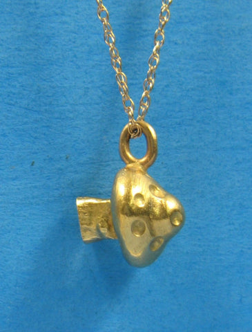 Necklace Solid 14kt Gold Hand Made Mushroom Pendant 14kt Gold Chain 1976 Groovy Retro