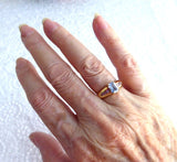 Ring 14k Emerald Cut Blue Aquamarine 6 Pink Zircons 1970s 14kt Gold Blue And Pink