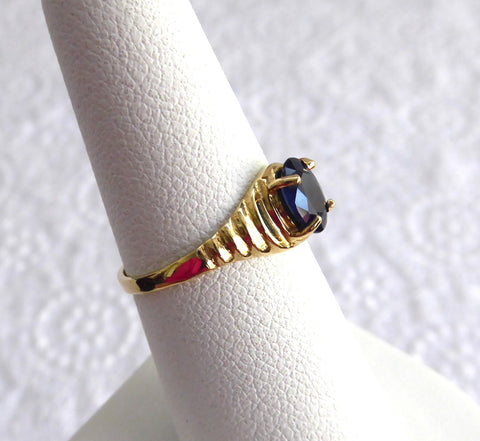 Sapphire Ring 14k Oval Blue Sapphire Solitare 3/4 Carat 1970s 14kt Gold Stepped Shoulders