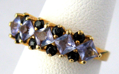Sapphires Tanzanites 10kt Gold Estate Ring Size 5 Vintage 1970s Engagement Wedding