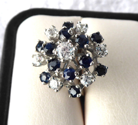 Dinner Ring 14kt Gold Sapphires Faux Diamonds Domed Cluster 14k Ring