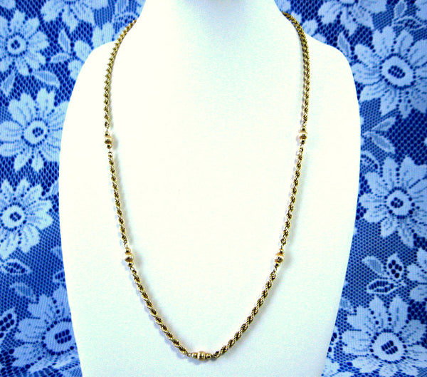Necklace 14kt Gold Diamond Cut Rope Chain 14kt Gold Beads 16 Inches 1970s