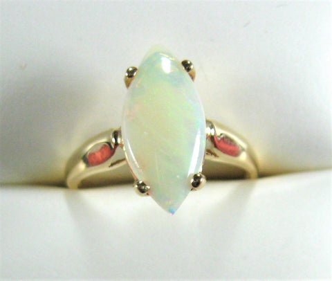 Opal Ring 14k Gold Genuine White Opal Marquise 6 3/4 Cut 1970s October Birthstone 14kt