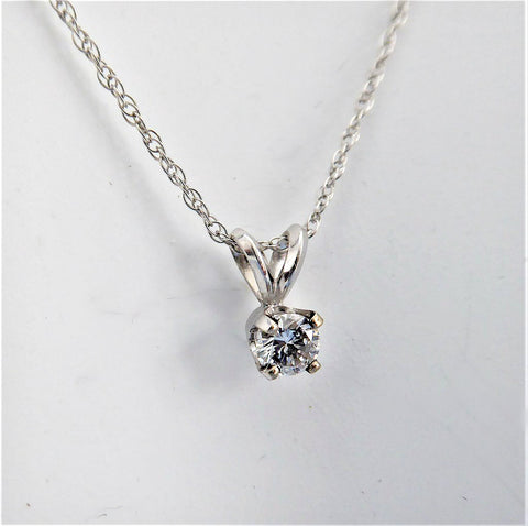 Necklace Diamond One Fifth Carat Round Diamond 14kt Gold Rope Chain Estate
