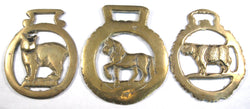 Horse Brass Lot Of 3 Cow Walking Horse Manx Cat Tourist