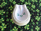 Lucky Horseshoe Spoon Rest Belleek Shamrock 1970s Luster Trinket