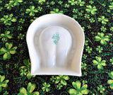 Lucky Horseshoe Spoon Rest Belleek Shamrock 1970s Luster Trinket Pipe Rest
