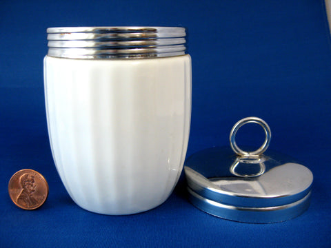Egg Coddler Ribbed White Canadian Large King Chrome Lid