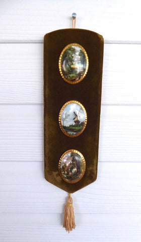 Retro Bone China And Velvet Wall Plaque Turner Landscapes 3 Oval Tiles Countess 1970s