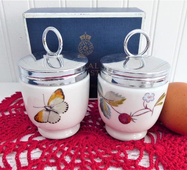 Boxed Egg Coddler Pair Royal Worcester Strawberry Fair Single 1970 Butterflies Berries