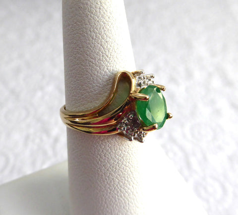 Emerald And Diamond Ring Genuine Oval 1.5 Carat Emerald 6 Diamonds 10k Gold 1970s Estate