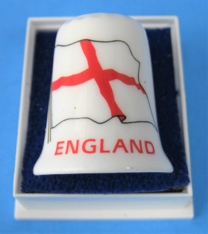 Thimble Flag St George England Bone China Mint In Box 1970s English Flag