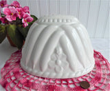 1970s White Ironstone Pudding Mold Flowers Peas Ceramic England Dessert Baking Decor