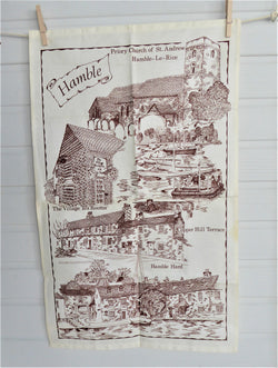 Tea Towel Hamble Hampshire 1970s Brown on White Village Landmarks Linen