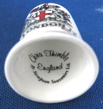 London Thimble English Souvenir Shield Bone China 1970s Sewing Thimble Souvenir