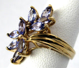 Tanzanite Cocktail Ring 9 Marquise Cluster Solid 10kt Gold 1970s Statement Party Ring