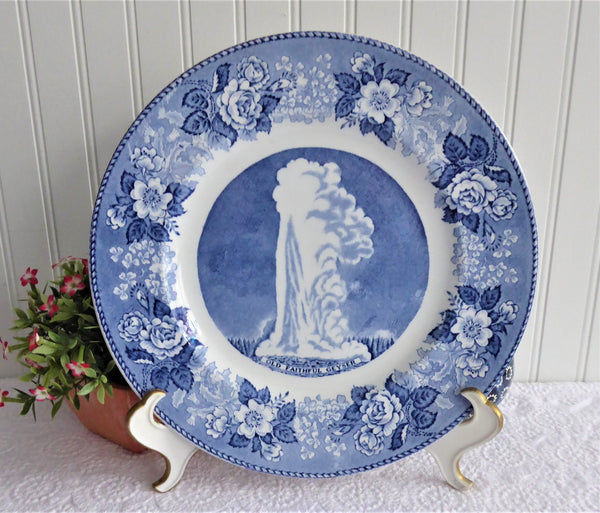 Old Faithful Geyser Yellowstone Blue Transferware Plate Meakin Jonroth 1970s 100 Years