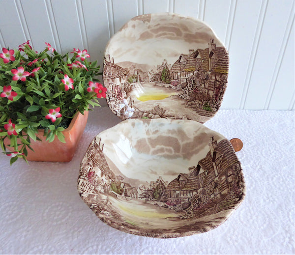Pair Brown Transferware Cereal Bowls Olde English Countryside Johnson Brothers 1970s