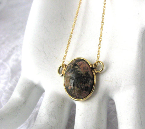 Carved Rhodonite Scarab Pendant Necklace Black Pink Chain 1970s King Tut Egyptian