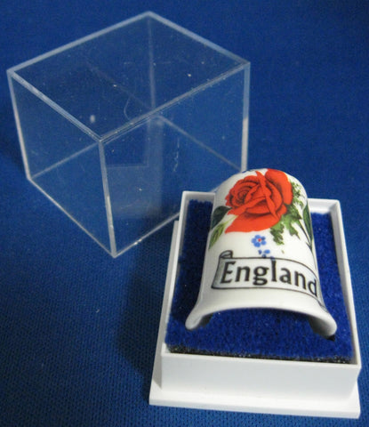 English Thimble England Rose Bone China Mint In Box 1970s Sewing Souvenir