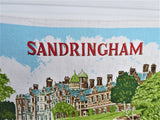 Royal Sandringham Tea Towel 1970s Queen Elizabeth Ulster Irish Linen