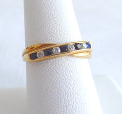 English 9Ct Gold Ring Sapphire Faux Diamond Crossover 1970s Half Eternity Wedding