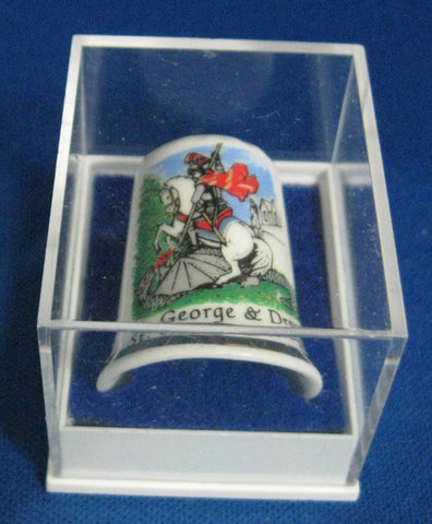 English Thimble Saint George And The Dragon Bone China Mint In Box 1970s