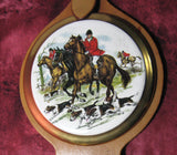 Sylvac Ceramic Wall Hanging 3 Hunting Scenes Horse Brass Strap Leather 1970s