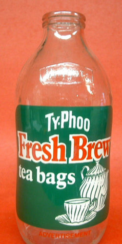 English Milk Bottle Pint Size Ty-Phoo Tea Advertising Bottle 1970s Kitchen