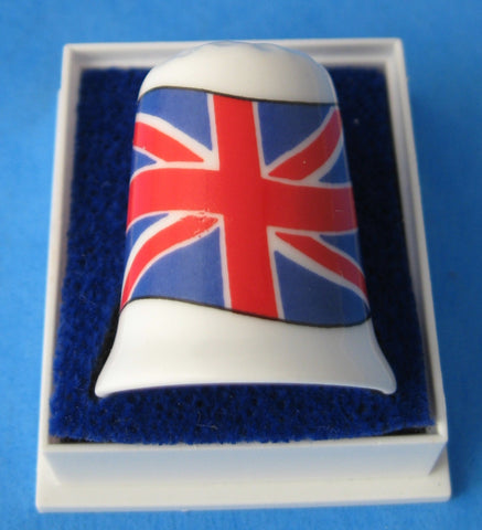 English Thimble Union Jack EU Bone China Mint In Box 1970s British Flag