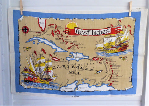 West Indies Tea Towel 1970s Dish Towel Old Map Ulster Irish Linen Caribbean