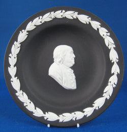 Wedgwood Black Jasperware Benjamin Franklin Profile Dish 1970s