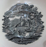 Cup And Saucer Black Transferware Wedgwood Lugano 1970s Italian Landscape