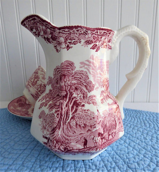 Woodland Pink Transferware Pitcher Jug 1965-1980 E Wedgwood Red Transferware