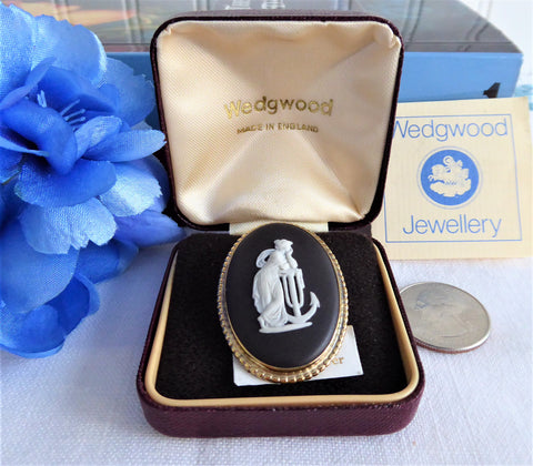 Wedgwood Black Jasper Vintage Brooch Hope Anchor Pin Sterling Silver Gold Plated 1970s Box