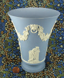 Wedgwood Blue Jasperware Tall Vase 4 Muses Lion Head Masks 1970s
