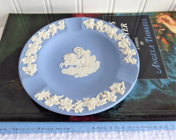 Wedgwood Blue Jasperware Ashtray Aurora And Chariot Of Dawn Tobacciana Dish 1970s