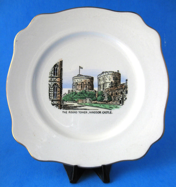 Windsor Castle Souvenir Plate 6.25 Inches Buckfast Potteries Square Plate