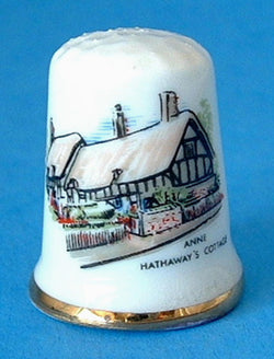 Thimble English Anne Hathaway's Cottage Bone China Thatched Cottage Sewing Thimble 1970s