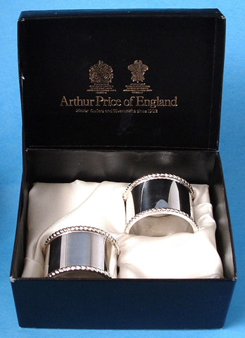 English Silver Plate Napkin Ring Pair 1970s Boxed Beaded Edges Royal Warrants