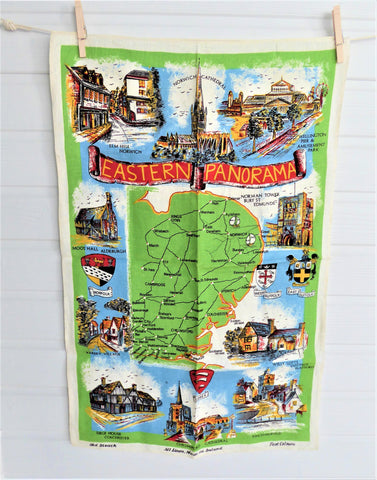 Eastern England Tea Towel 1950s Sussex Suffolk Norfolk Landmarks Linen