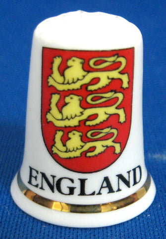 England Thimble 3 Lions English Bone China Shield 1970s Sewing Thimble Souvenir