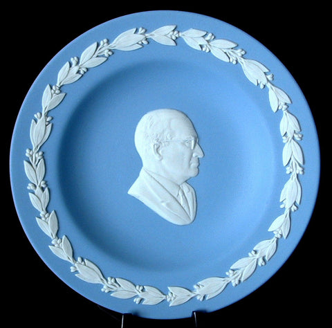 Wedgwood President Harry Truman Blue Jasperware Plate Dish 1970s Compotier Small Plate
