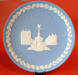 Wedgwood England Jasperware Christmas Plate 1971 Piccadilly Circus London Blue And White