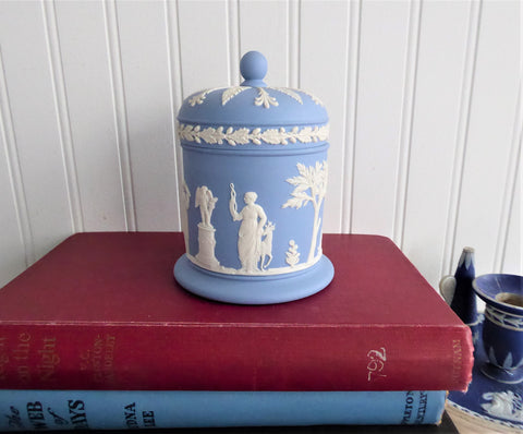 Wedgwood Blue Jasper Ware Box Cylinder Lidded Classical Figures 1972 Blue And White