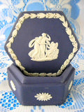 Wedgwood Jasperware Lidded Box 1973 Cupid Asleep Dark Blue Hexagon