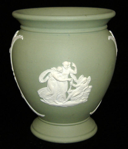 Wedgwood Green Jasper Vase Cupid Asleep Aurora Chariot Of Dawn 1974