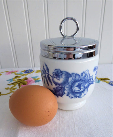 Rhapsody Egg Coddler Royal Worcester Double King 1975-1984 Blue And White