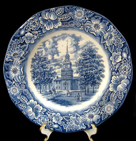 Liberty Blue Staffordshire Independence Hall Plate 1970s Blue And White 9.85 Inch English Ironstone